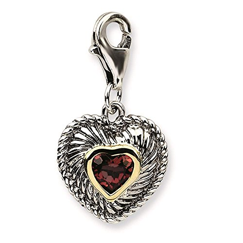 925 Silver w/ 14k Gold Accent Garnet Antiqued w/ Lobster Clasp Charm - Amore La Vita Collection ()