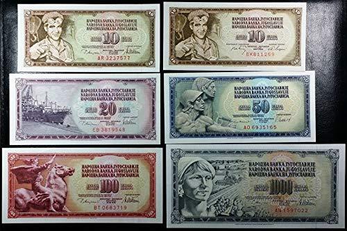 Note Dinara - LOT of 6 Crisp UNC Yugoslavia 10 to 1000 DINARA BANKNOTES - Various Dates