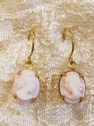 Victorian Style Cameo Earrings Real Carved Pink Shell Small Carved Shell Cameo Earrings