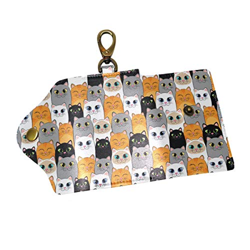 (Cats Ginger Siamese Kittens Key Case Wallets Leather Unisex Keychain Key Holder Ring with 6 Hooks Snap Closure)
