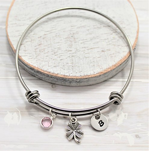 - Lucky Clover Charm Bracelet for Women & Girls - Four leaf Clover Jewelry - Personalized - Fast Shipping