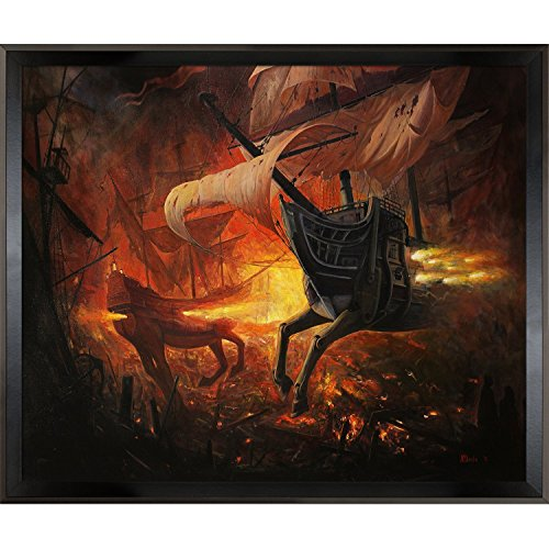 overstockart-spanish-galions-on-fire-by-borda-with-studio-black-wood-angle-frame