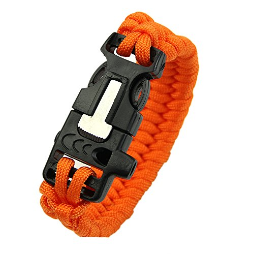YSTD® New New Outdoor Paracord Survival Bracelet Whistle Gear Kits Flint Fire Starter Scraper (Orange)