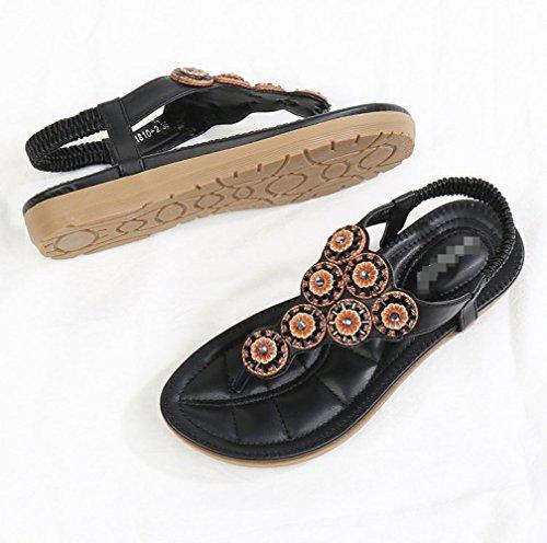 Beads Fashion Summer Donna Aqua Da Sandals Bohemia Black Flat Scarpe qdE7xXwOa