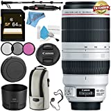 Canon EF 100-400mm f/4.5-5.6L IS II USM Lens 9524B002 + 77mm 3 Piece Filter Kit + 64GB SDXC Card + Lens Pen Cleaner + Fibercloth + Lens Capkeeper + Deluxe 70 Monopod + Deluxe Cleaning Kit Bundle