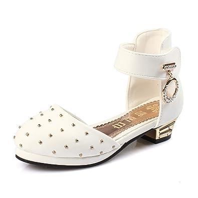 b3adf37f1 Fanessy Fille Sandales Chaussure de Princesse Blanc Noir à Talon ...