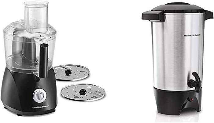 Hamilton Beach ChefPrep 10-Cup Food Processor & Vegetable Chopper with 6 Functions to Chop, Puree, Shred, Slice and Crinkle Cut, Black (70670) & 45 Cup Coffee Urn and Hot Beverage Dispenser, Silver