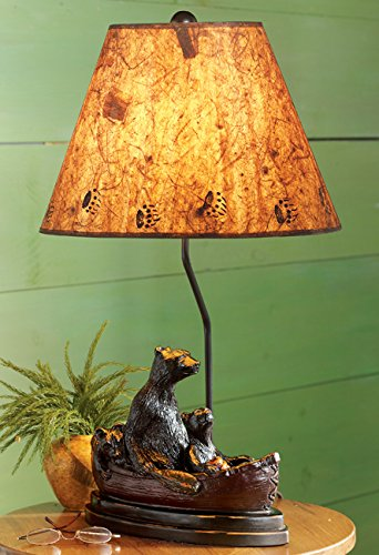 - Black Bear Family Canoe Lamp