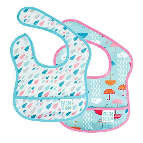 Bumkins Starter Bib, Baby Bib Infant, Waterproof, Washable, Stain and Odor Resistant, 3-9 Months, 2-Pack - Raindrops & ()