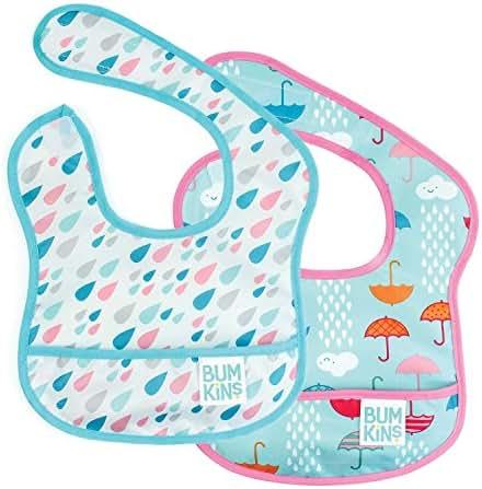 Bumkins Starter Bib, Baby Bib Infant, Waterproof, Washable, Stain and Odor Resistant, 3-9 Months, 2-Pack – Raindrops & Umbrellas