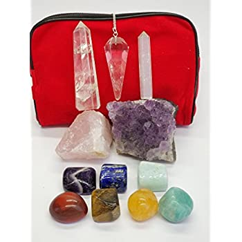 12 piece Chakra Stones Healing/Balancing Kit includes Ebook, Chakra Crystals, Amethyst Cluster, Quartz Pendulum, Raw Rose Quartz, Selenite Point, Crystal Obelisk. Use for Reiki, Meditation, Rituals