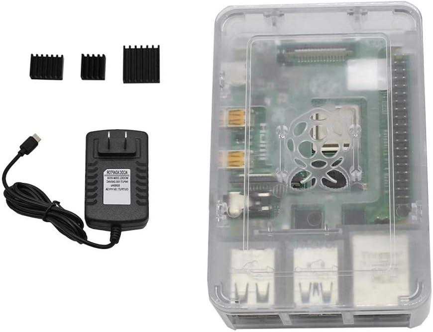 Vaorwne for Raspberry Pi 4B ABS Black Case 2G RAM DIY Kit with Heatsink 5V 3A Power for Raspberry PI 4 US Plug