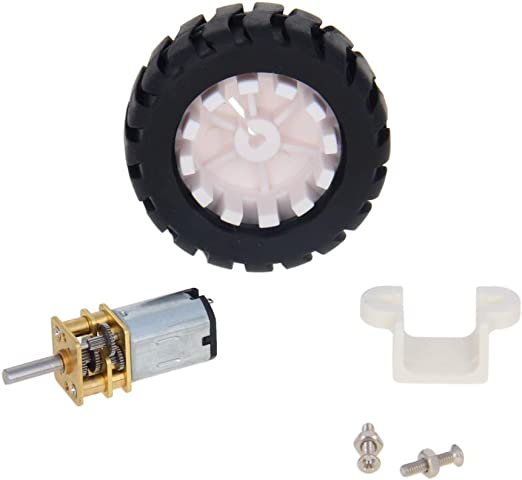 Fielect Mini Gear Motor DC 3V 15RPM Miniature Gear DC Motor with Fixed Frame Coupling Nut Plastic Wheel for DIY Toys Science