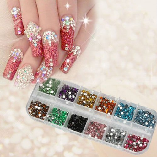 Nail art diamonds amazon 1200pcs new nail art rhinestones glitters acrylic tips decoration manicure wheel prinsesfo Images