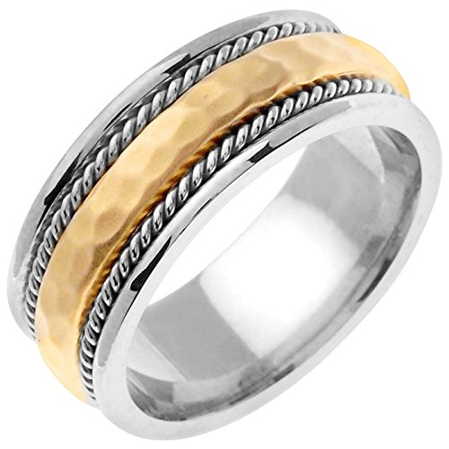 Two Tone Gold Rope (14K Two Tone Gold Braided Rope Edge Men's Hammered Finish Comfort Fit Wedding Band (8.5mm))