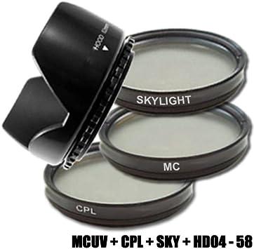 DynaSun Multi-Coated - Pack de filtros UV/Sky. Polarizador CPL y Parasol de 58 mm, Negro