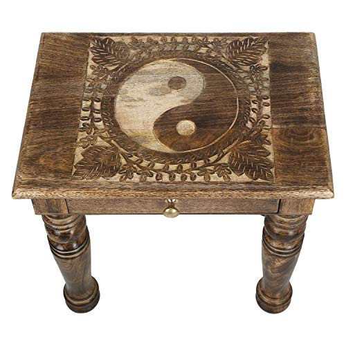 SAVON Wooden Side end Table Square yin yang Carved ()