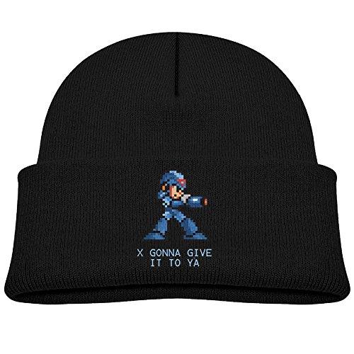 [A Winterfallpop Boys/Girls I Gonna Give It To Ya Megaman Winter Beanie Skull Hat&Cap Unisex Black] (Megaman Hat)