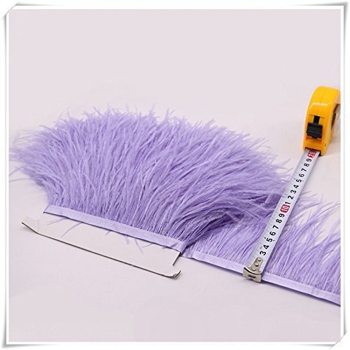 Ostrich Feather Trims Fringes Sewn on Feather Tape 1 Yard (021-Lavender)