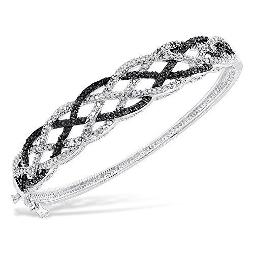 Women's 14K White Gold Finish 2.00 CT Diamond Braided Bangle Tennis Bracelet 5-10 Inch (7 Inches) (Black Diamond Bangle Bracelet)