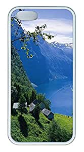 iPhone 5S Case Small Houses In Norwegian Mountains TPU Custom iPhone 5/5S Case Cover White