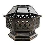 ALEKO FP004 Laser Cut Bronze Hex Design Fire Pit with Log Grate and Flame Retardant Lid 24 x 24 x 25 Inches Bronze