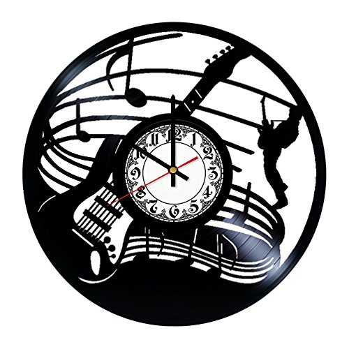 Girls Art Boutique Electric Guitar Rock Band Handmade Vinyl Record Wall Clock - Get unique room wall decor - Gift ideas for his and her - Modern Unique Home Art Design ...