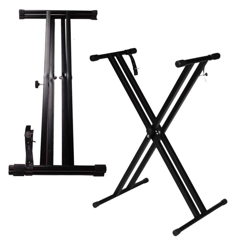 Glarry Adjustable Metal Music Keyboard Electric Piano Dual Tube X Stand Standard Rack