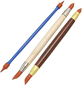 COMIART 3pcs Double Head Clay Color Shapers Rubber Tip Paint Drawing Blending Brushes