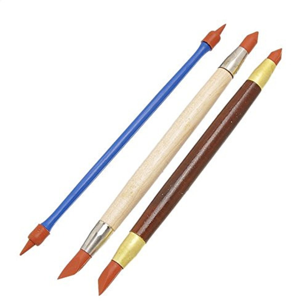COMIART 3pcs Two Head Clay Color Shapers, Artist's Rubber Tip Paint Brushes, Pottery Clay Sculpture Carving Tools, Blending, Drawing CC11
