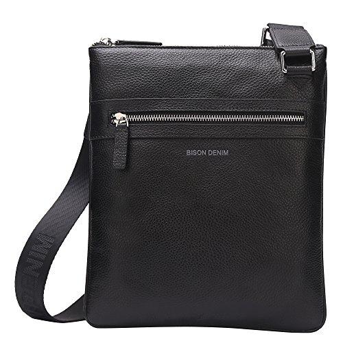 BISON DENIM Handmade Men's Leather Cross body Messenger Bag Shoulder Bags Satchel Black