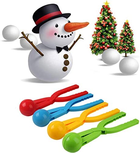 wonuu 4 Pack Snowball Makers Snow Toys Winter Outdoor Snowball Fight Games Beach Sand Ball Snowman Tool Kit with Football Veins for Kids Adults
