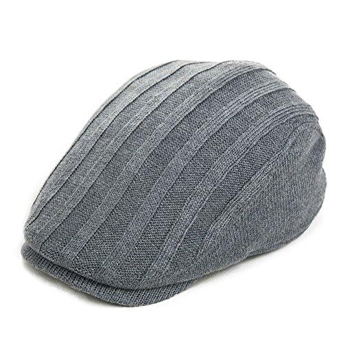 Siggi Knit Irish Driver Cap for Men Cable Wool Knit Duckbill Ivy Flat Caps Gray
