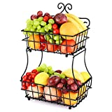 Oakome 2 Tier Fruit Baskets - Metal Bread Basket Stand with Free Screws for Fruit, Vegetables, Snacks, Home Kitchen and Office