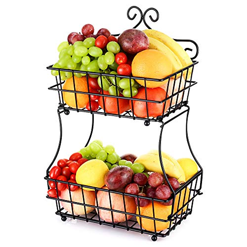 Square Basket Serving - Oakome 2 Tier Fruit Baskets - Metal Bread Storage Basket Stand with Free Screws for Fruit, Vegetables, Snacks, Home, Kitchen and Office