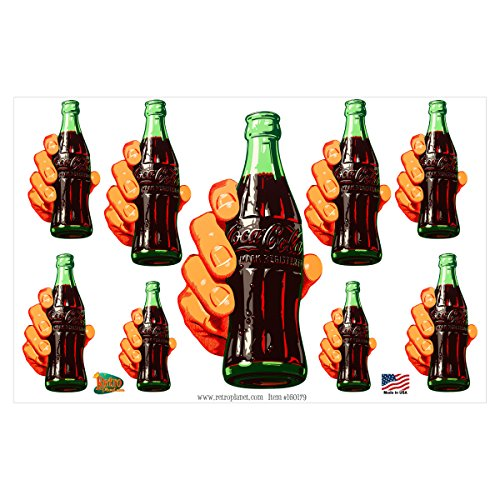 Retro Planet Coca-Cola Contour Bottle In Hand Vinyl Sticker Set Of 9