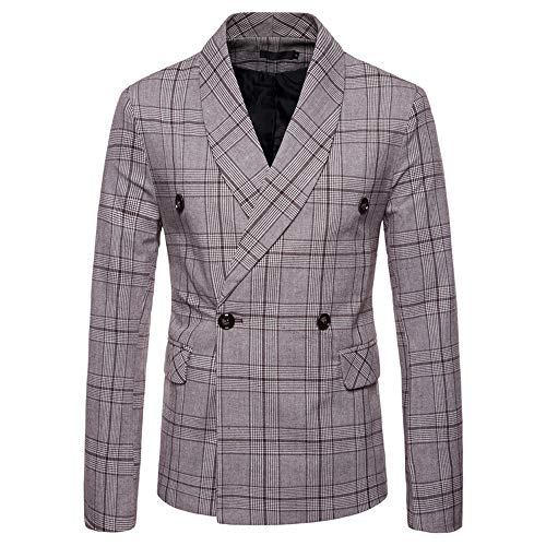 Mr.Macy Men's New Fashionable Checked Double-Breasted Suit Jacket Button Lattice Coat ()