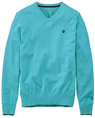 Timberland Mens Williams River Teal Blue V-Neck Sweater Teal Blue
