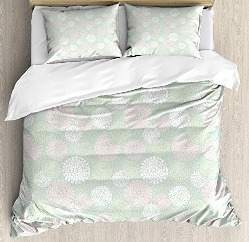 - Ambesonne Mint Duvet Cover Set, Dahlia Flowers in Pastel Tones Spring Blooms Theme Floral Pattern, 3 Piece Bedding Set with Pillow Shams, Queen/Full, Almond Green White Light Pink