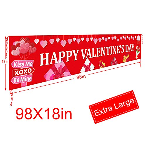 Large Happy Valentine S Day Banner Outdoor Valentines Decorations Red Valentines Banner Decorations Valentine Party Supplies Outdoor Indoor Hanging Decor 8 2 X 1 5 Ft In Saudi Arabia Whizz Banners Garlands