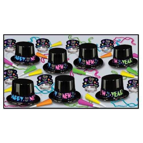 Year Top Hat Happy New (Beistle 88089-25 Neon Party Party Favors, 1 Assortment Per Package)