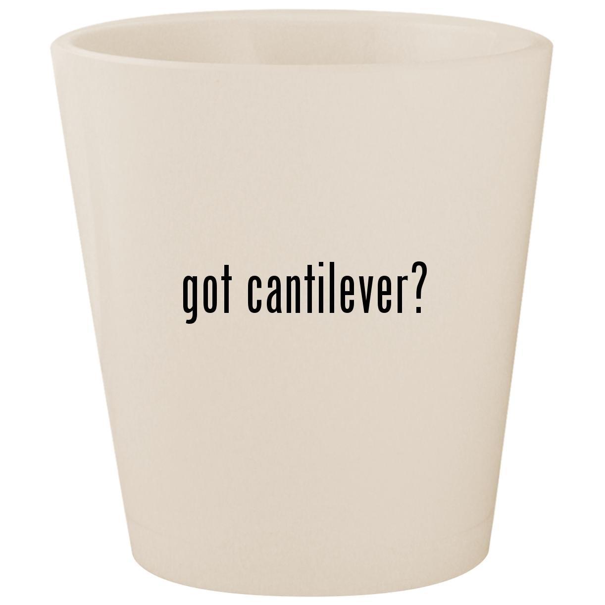 got cantilever? - White Ceramic 1.5oz Shot Glass