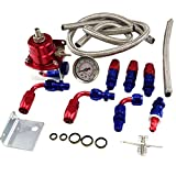 Universal Adjustable EFI Aluminum Fuel Pressure Regulator Kit w/ 60 - 160 Psi Gauge An6 -6an Fuel Line Hose Fittings Red