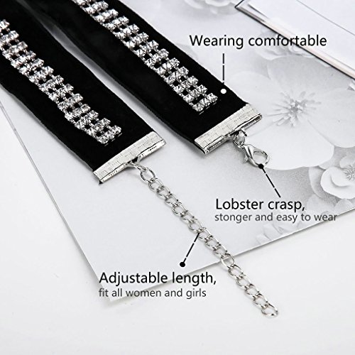 KnSam Ras du Cou Choker Collier Alliage 3 Row Cristal Rhinestone Noir Blanc [Fille Gothique]
