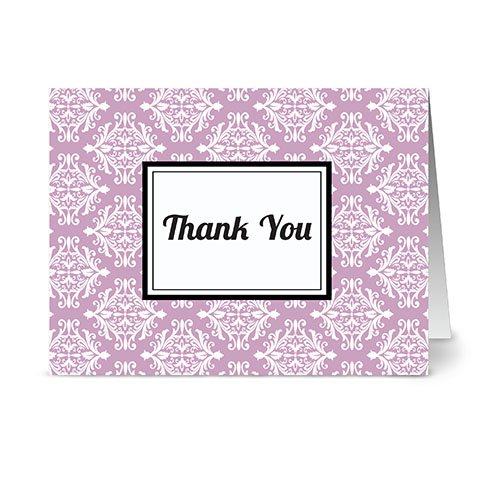 (Modern Royal Damask 'Thank You' Lavendar - 24 Cards - Blank Cards w/ Grey Envelopes Included)