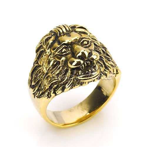 Mens Mens Boys Yellow Gold Lion Ring Stainless Steel US SIZE 9-11 K-Design