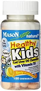 Mason Vitamins Healthy Kids Cod Liver Oil and Vitamin D, Tasty Chewable Orange Flavor, 100-Count,  (Pack of 3)