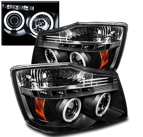 ZMAUTOPARTS New CCFL Halo LED Projector Head Lights Lamps Black For Titan/ (Ccfl Halo Projector Headlights Lamps)