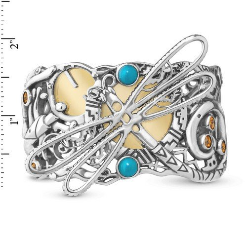 Fritz Casuse Mixed Metal Multi Gemstone Dragonfly Cuff Bracelet