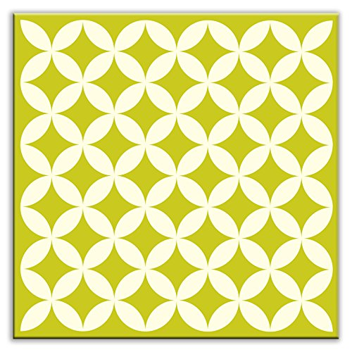 "Folksy Love Needle Point Satin Decorative Tile, Avocado, 6"" by 6"""
